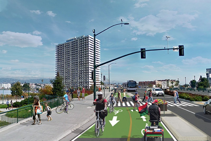 rendering of a 2-way cycletrack on Lake Merritt Blvd along the south side of the Lake Merritt.