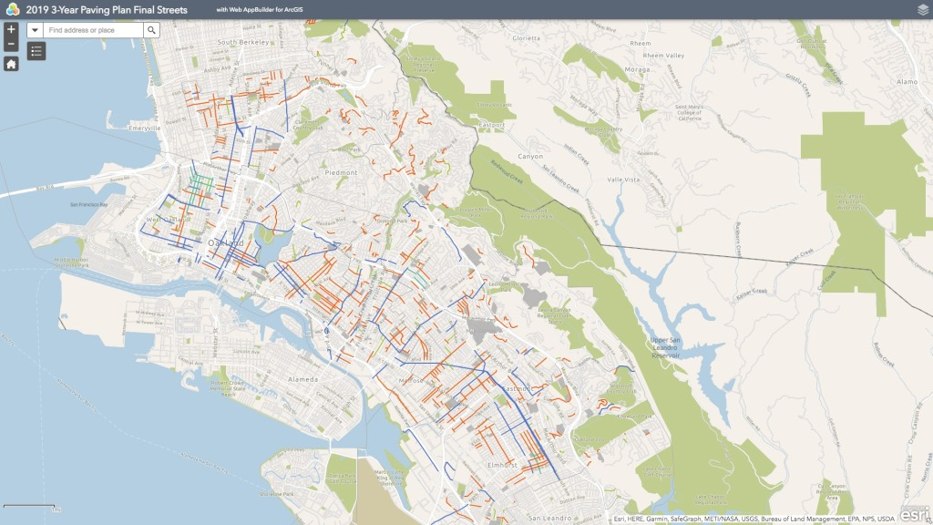 screenshot of the 2019 3-Year Paving Plan map
