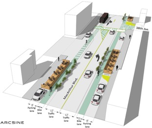 rendering of the proposed road diet